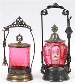 CRANBERRY GLASS PICKLE CASTORS C.1870 TWO