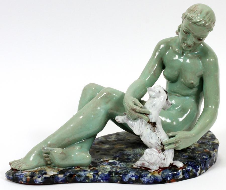 """AKRON O. WPA"" GLAZED TERRACOTTA FIGURE, C. 1935"