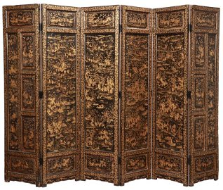 CHINESE SIX PANEL BLACK LACQUERED SCREEN C.1800