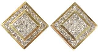 PRINCESS CUT DIAMOND, GOLD, EARRINGS, OMEGA CLIP