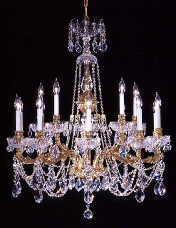 100001: TWO TIER BRASS & CRYSTAL CHANDELIER H 40''