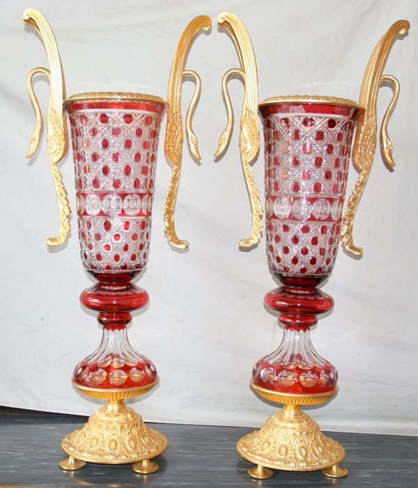 100009: RED TO CLEAR BOHEMIAN CRYSTAL & BRONZE URNS