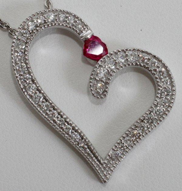 100010: 1.25 CT. DIAMOND & .50 CT. RUBY HEART PENDANT
