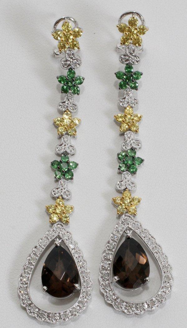 100021: W/GOLD, DIAMOND, SAPPHIRE & TOPAZ EARRINGS