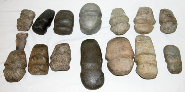 100196: NATIVE AMERICAN INDIAN CARVED STONE AXE HEADS