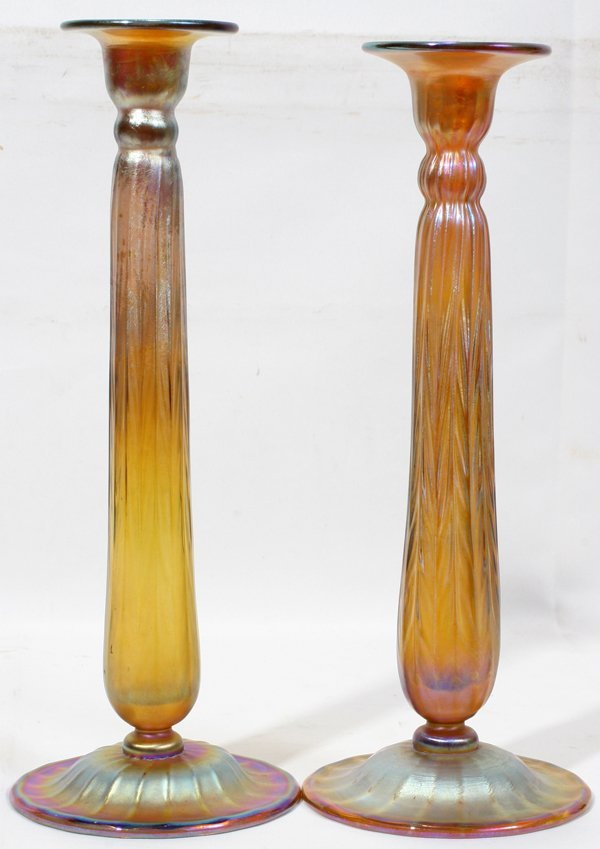 101002: TIFFANY GOLD FAVRILE GLASS CANDLESTICKS