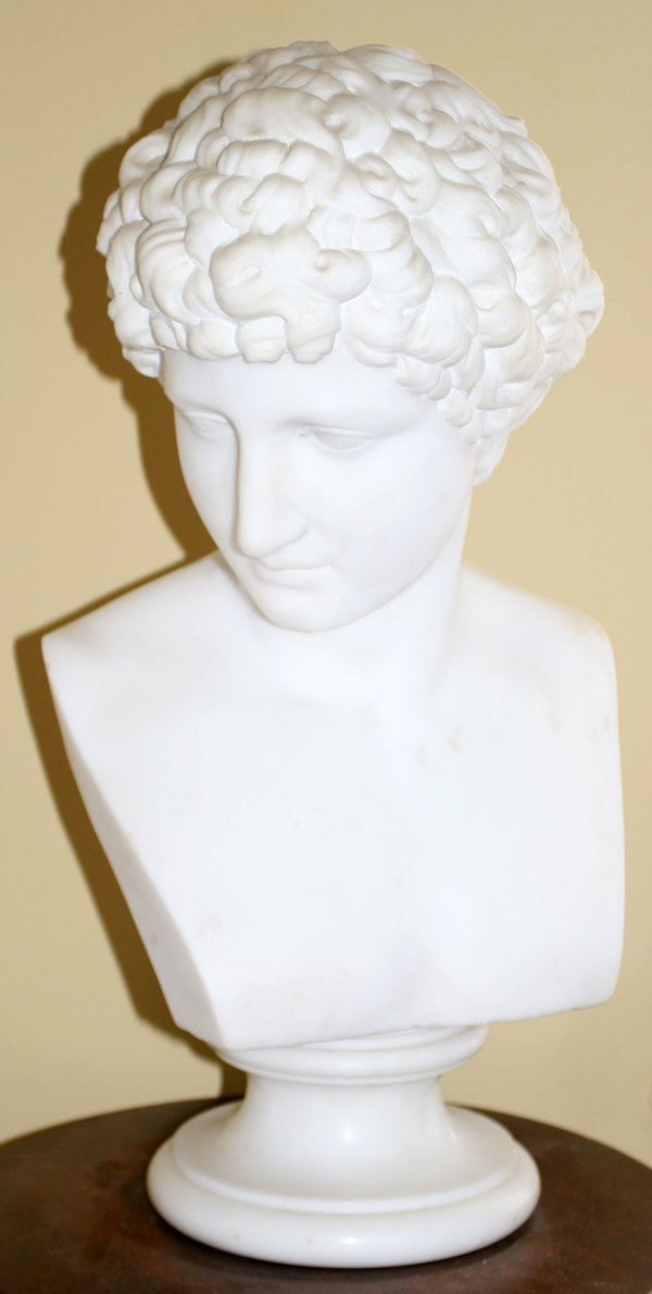 """101016: MARBLE BUST OF A GREEK GOD, 19TH C, H 21"""""""