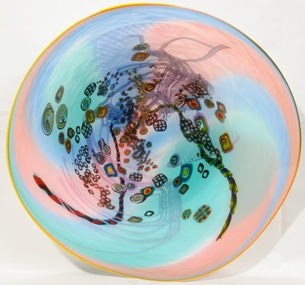 """101020: WES HUNTING CONTEMPORARY ART GLASS BOWL W 21"""""""