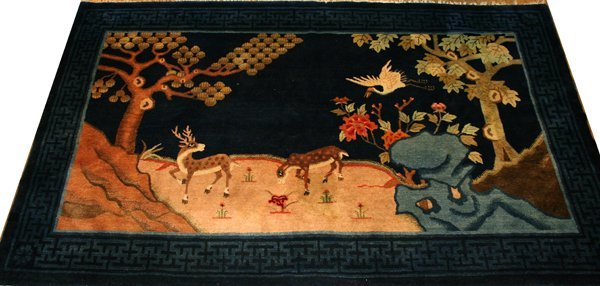 101021: CHINESE PICTORIAL ORIENTAL RUG, C. 1900