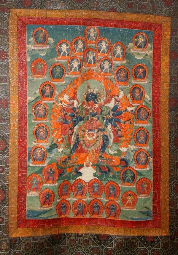 101160: TIBETAN TONKA, PAINTING ON SILK, DEITIES