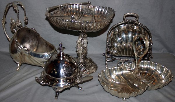 101365: VICTORIAN SILVERPLATE TABLE WARE, FIVE PIECES