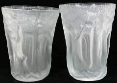 102258 ART GLASS FROSTED VASES UNMARKED PAIR