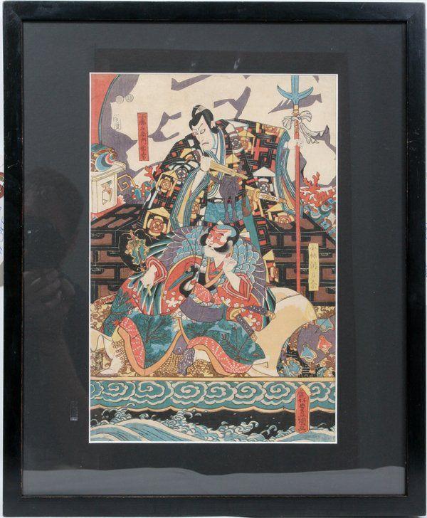 102356: TOYOKUNI III UKIYO-E WOODBLOCK KABUKI PLAY