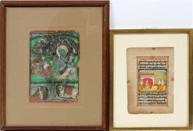 INDIAN MANUSCRIPT LEAF, INK AND WATERCOLOR