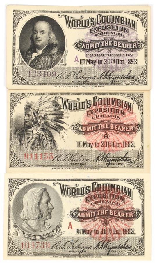 1893 WORLD'S COLUMBIAN EXPOSITION CHICAGO TICKETS