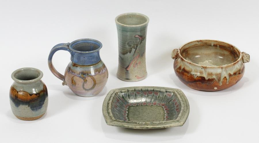 "SIGNED ART POTTERY TABLEWARE, 5 PCS, H 2""-6"""