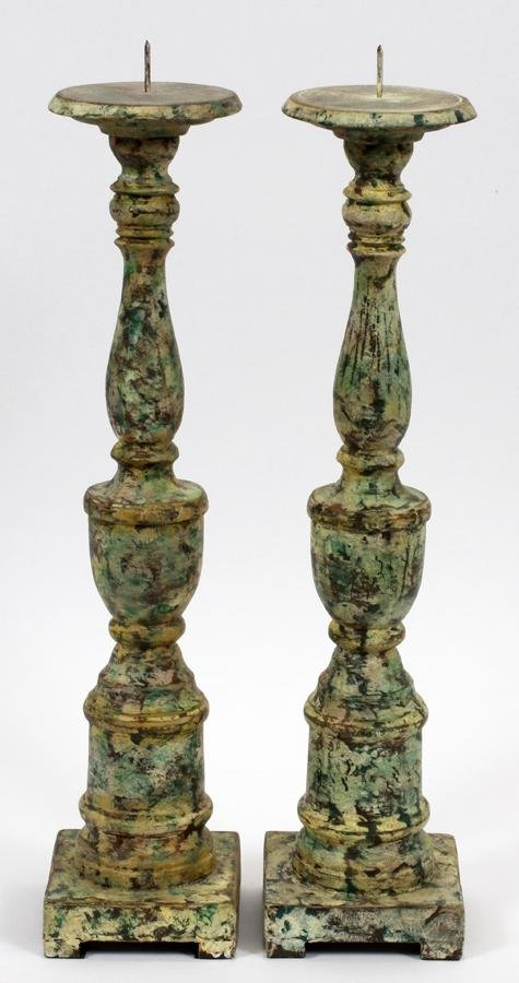 PAINTED WOOD CANDLESTICKS, PAIR