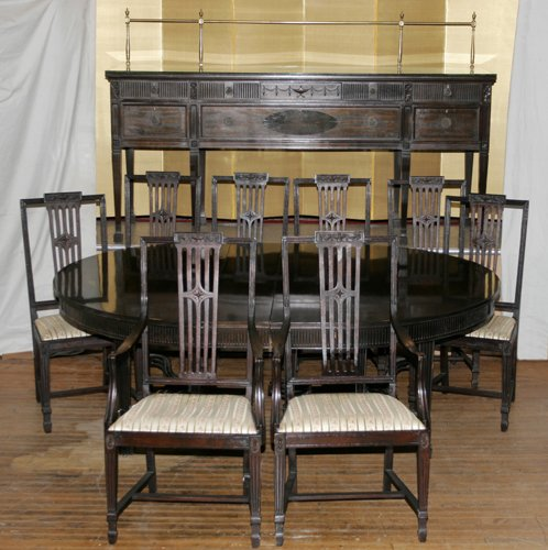 020001: MAHOGANY DINING ROOM SET, C.1910, 15 PCS.
