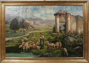 JOHN CALIFANO, OIL ON CANVAS, SHEPHERDESS WITH