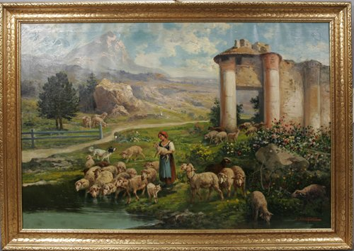 020003: JOHN CALIFANO, OIL ON CANVAS, SHEPHERDESS WITH