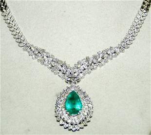 18 KT. W.GOLD, DIAMOND & EMERALD NECKLACE, L 16
