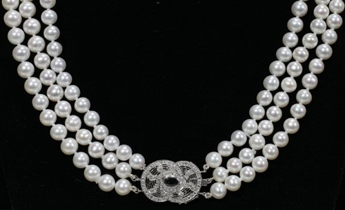 020012: 7- 8 MM. DIAMETER CULTURED PEARL NECKLACE W/DIA