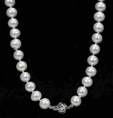 9 - 9 1/2 MM. DIA. CULTURED PEARL NECKLACE W/14