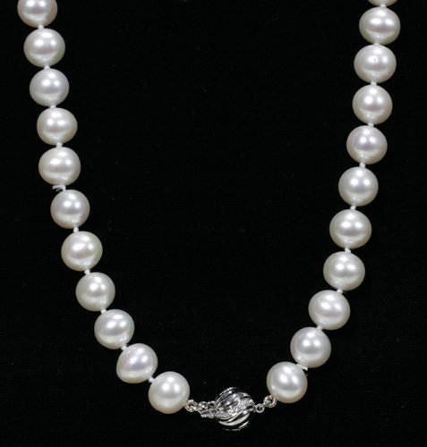020013: 9 - 9 1/2 MM. DIA. CULTURED PEARL NECKLACE W/14