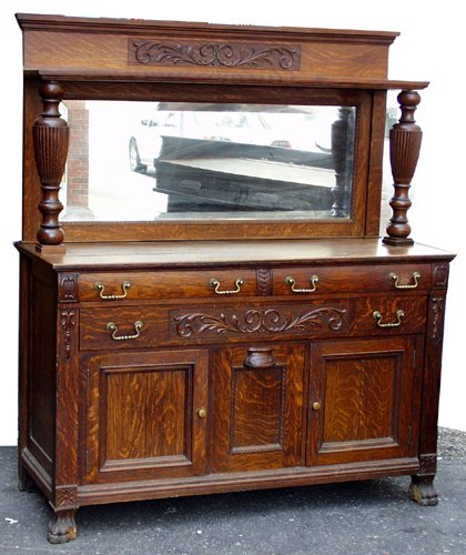 "020014: OAK SIDEBOARD W/MIRROR, C1910, H 68"", W 52"", D"