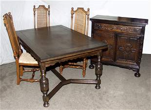 JACOBEAN STYLE CARVED OAK REFRACTORY DINING SET