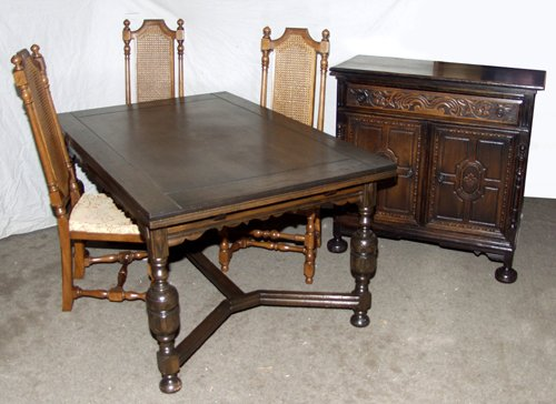 020017: JACOBEAN STYLE CARVED OAK REFRACTORY DINING SET