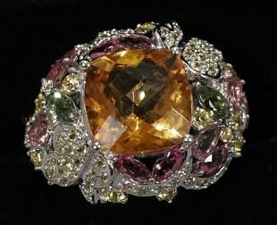 18 KT. WHITE GOLD RING, DIAMOND, RUBY, YELLOW S