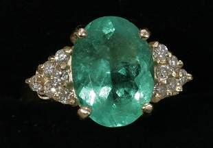 14 KT. GOLD RING, DIAMOND & 3.75 CT. EMERALD