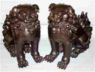 "ORIENTAL BRONZE FOO DOGS, C.1930, PAIR, H 16"","