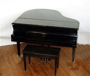 "EBONY CASE BABY GRAND PIANO, C. 1890, W 57"", L"