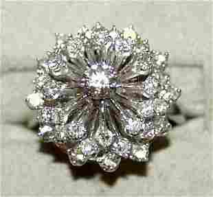 14 KT. WHITE GOLD AND DIAMOND RING, 37 DIAMONDS