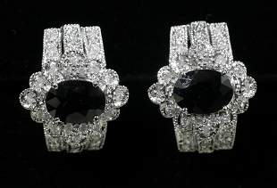 14 KT. WHITE GOLD, DIAMOND AND SAPPHIRE EARRING