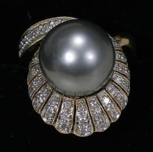 14 KT. YELLOW GOLD, DIAMOND & TAHITIAN PEARL RI
