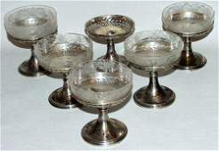020334: STERLING SILVER COMPOTES & ETCHED GLASS INSERTS