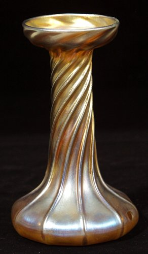 021002: TIFFANY GOLD FAVRILE GLASS CANDLESTICK, C.1900