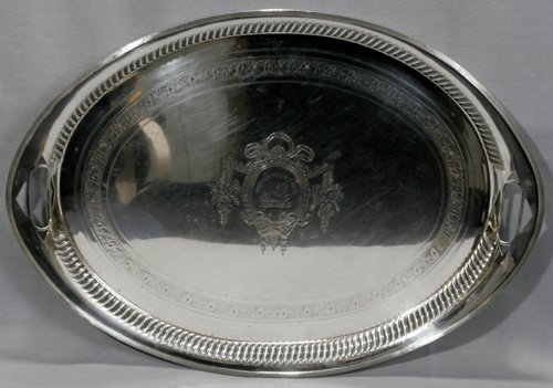 021003: OLD SHEFFIELD PLATE SERVING TRAY BY WILKINSON