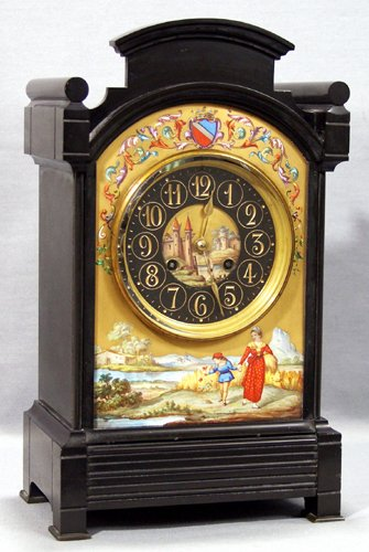 021007: BELGIAN MARBLE & ENAMEL-DECORATED MANTEL CLOCK