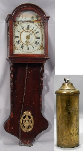 021009: DUTCH WALNUT WALL CLOCK, 18TH CENTURY, W/1 WEIG