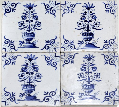 021010: 4 DUTCH POTTERY TILES, BLUE & WHITE, 18TH C.