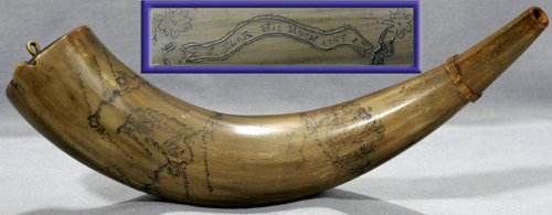 "021011: ""COLONIAL NORTH AMERICA"" POWDER HORN, DATED 175"