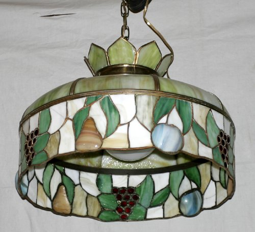021015: AMERICAN LEADED & BENT GLASS CHANDELIER, C 1915