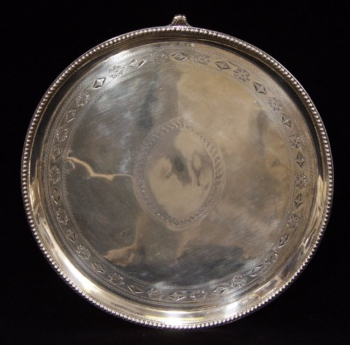 021017: ENGLISH GEORGE III STERLING SILVER SALVER