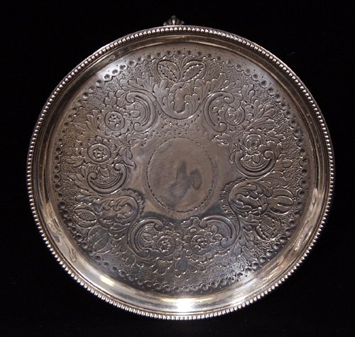021019: ENGLISH GEORGE III STERLING SILVER SALVER