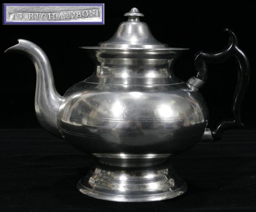 021022: AMERICAN PEWTER TEAPOT, BOSTON & CRANSTON