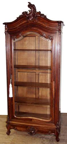 COUNTRY FRENCH HAND CARVED ROSEWOOD VITRINE, C.